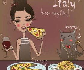 Cartoon girl eating pizza vector