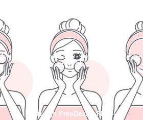 Cartoon girl fruit skin care vector