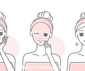 Cartoon girl mask skin care vector