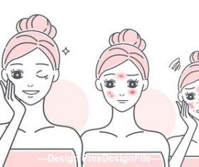 Cartoon girl skin allergy care vector
