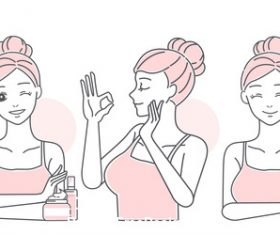 Cartoon girl skin care vector
