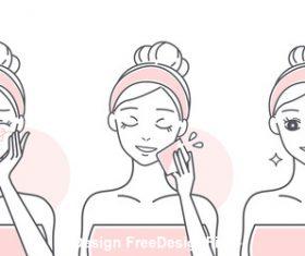 Cartoon girl skin hydrating vector
