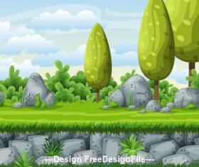 Cartoon green tree and stones vector