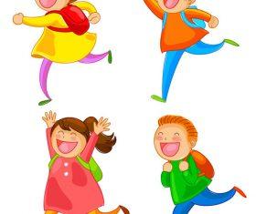Cartoon happy school children vector