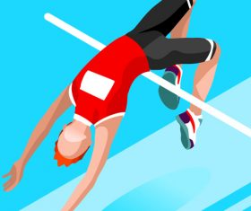 Cartoon high jump vector