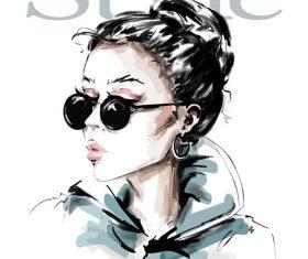 Cartoon hipster girl illustration vectors