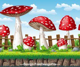 Cartoon huge mushroom vector