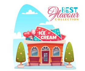 Cartoon ice cream store vector