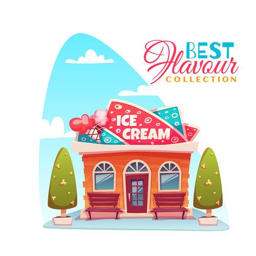 Cartoon ice cream store vector
