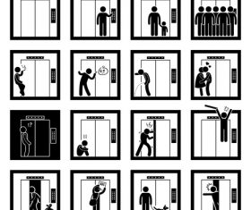Cartoon icon man and elevator vector 01