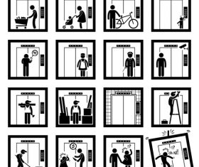 Cartoon icon man and elevator vector 02