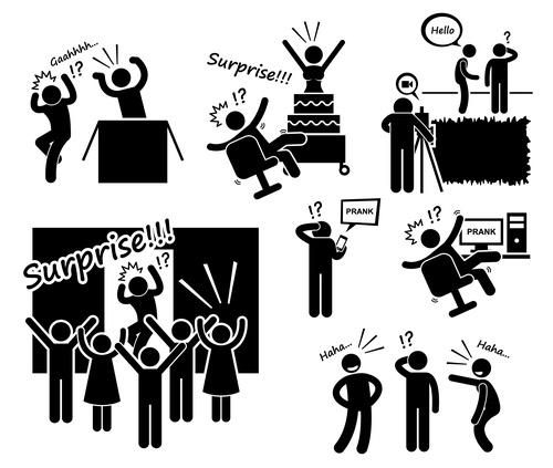 Cartoon icon surprise prank vector