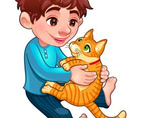 Cartoon little boy and cat vectors