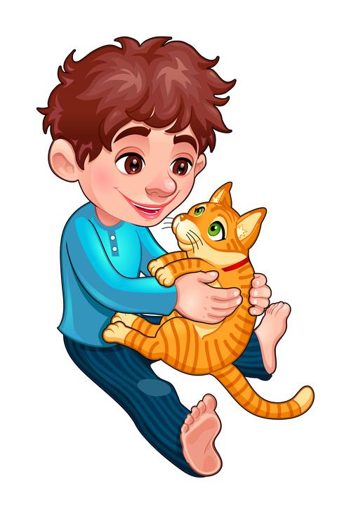 Cartoon little boy and cat vectors