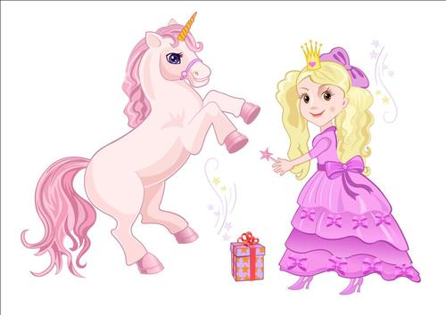 Cartoon little girl and unicorn vectors