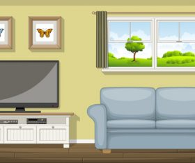 Cartoon living room TV and sofa vectors