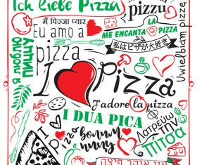Cartoon love pizza banner flyer vector 01