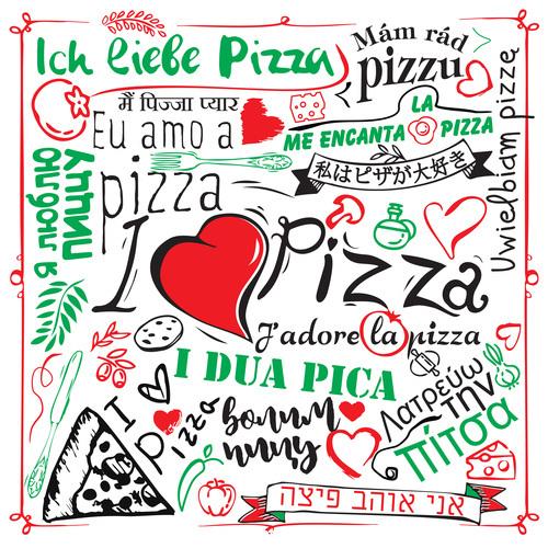 Cartoon love pizza banner flyer vector 01