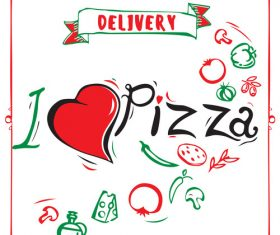 Cartoon love pizza banner flyer vector 02