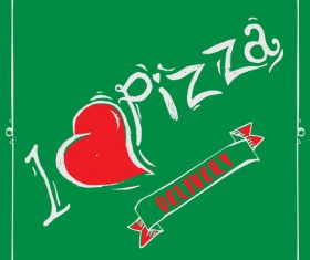 Cartoon love pizza banner flyer vector 03