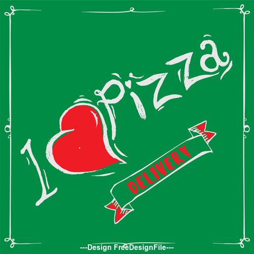 Cartoon love pizza banner flyer vector 03