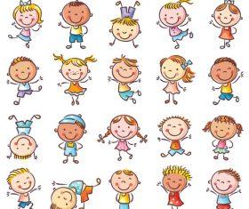 Cartoon many kids vector