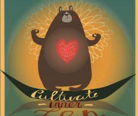 Cartoon meditation bear vector