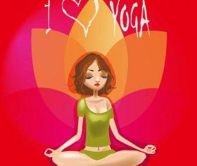 Cartoon meditation girl vector