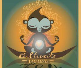 Cartoon meditation monkey vector