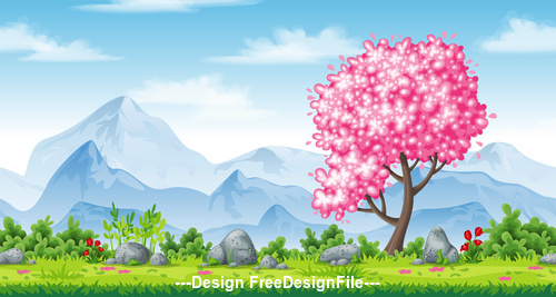 Cartoon mountains and cherry trees vector