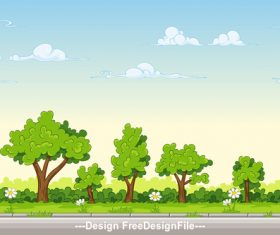 Cartoon nature landscape tree and white small flowers vector