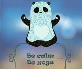 Cartoon panda doing yoga vector