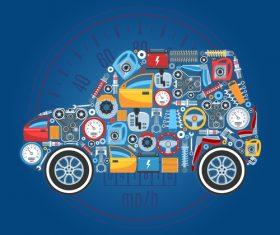 Cartoon parts assembly Car vector