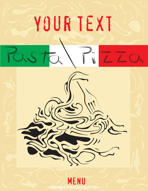 Cartoon pasta pizza cover vector