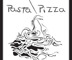 Cartoon pasta pizza sketch cover vector