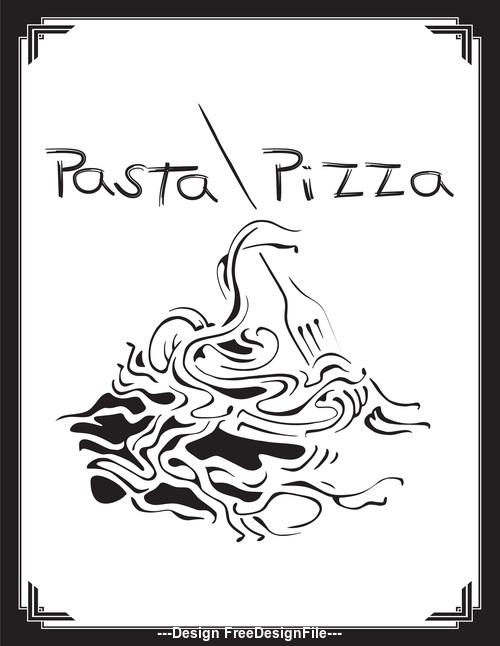 Cartoon pasta pizza sketch cover vector