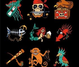 Cartoon pirate elements vector