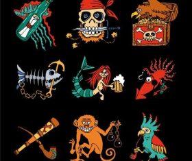 Cartoon pirate elements vector