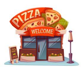 Cartoon pizzeria store vector