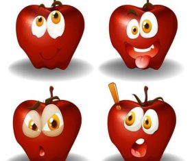 Cartoon red apple expression vectors