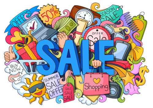 Cartoon sale discount illustration vectors