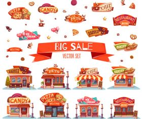 Cartoon store and shop logo vector