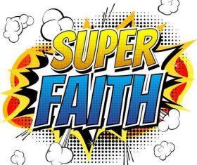 Cartoon style super faith cover vectors