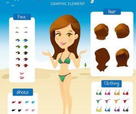 Cartoon summer character design vectors