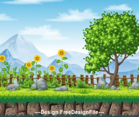 Cartoon sunflower and green tree vector