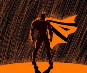 Cartoon superman rain vector
