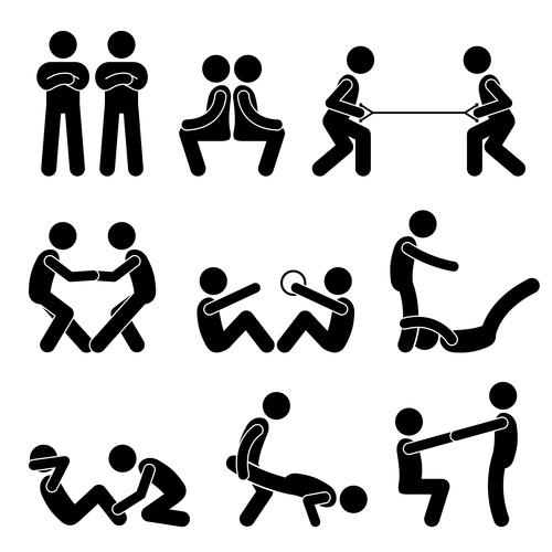 Cartoon two people sport icon vector