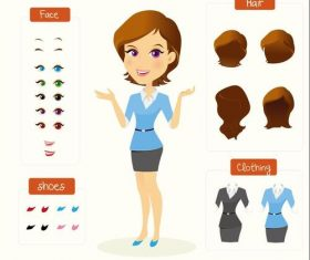 Cartoon woman character design vectors