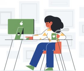 Cartoon woman surfing the internet at home vectors
