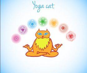 Cartoon yoga cat vectors